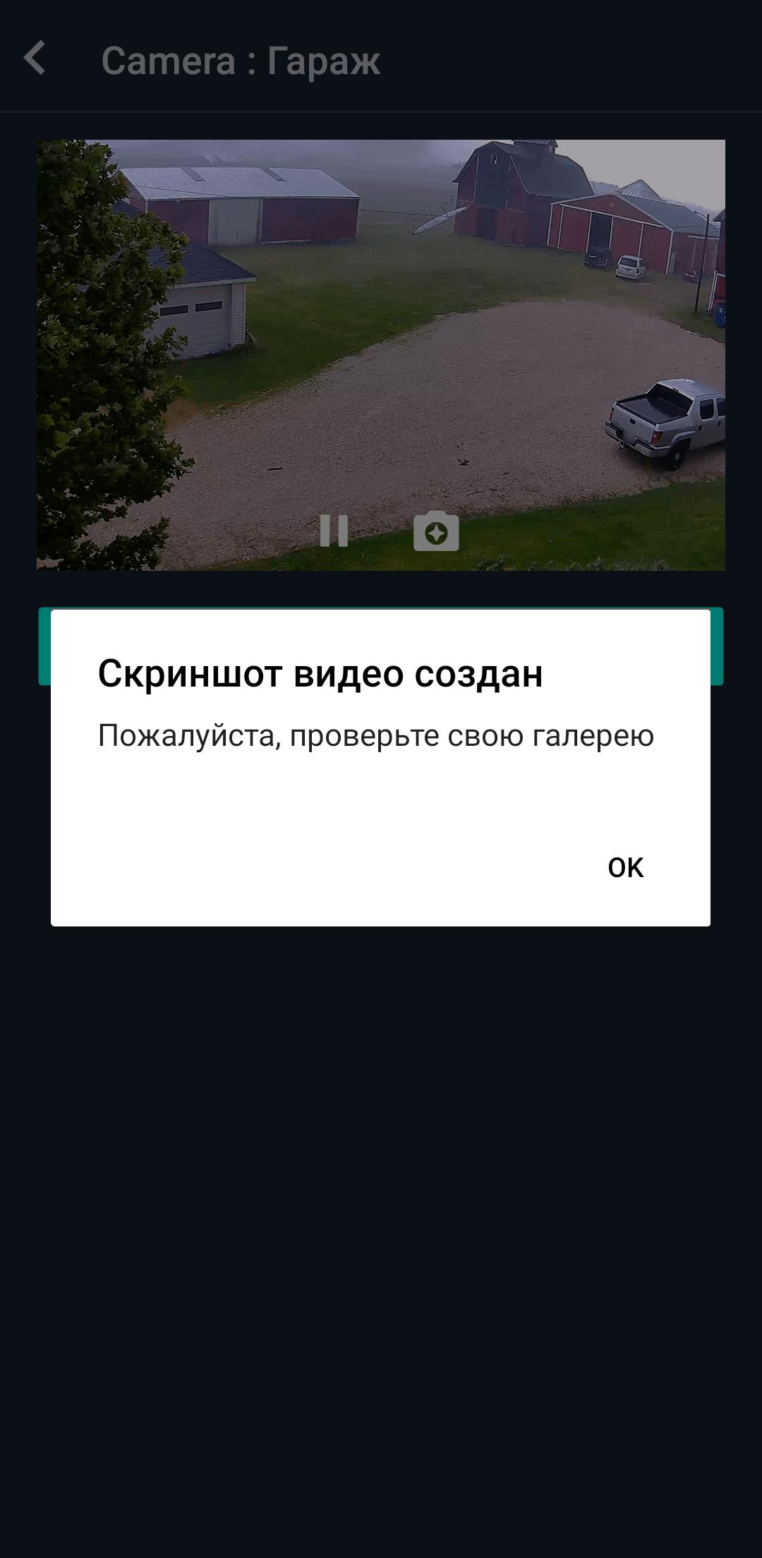 Снимок экрана трансляции с камеры наблюдения в приложении Propuskator